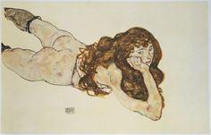 Egon Schiele, Female Nude Lying on Her Stomach, 1917 - HarpersBAZAAR.com