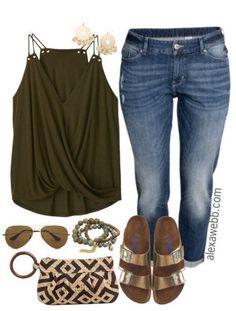 Plus Size Wrap Top & Boyfriend Jeans Outfit - Plus Size Outfit Idea - Plus Size Fashion - alexawebb.com #plussizeoutfits