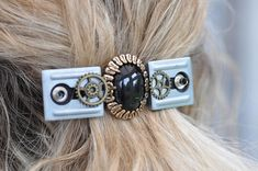 STEAMPUNK HAIR BARRETTE beautiful hairpiece for weddings or christmas with vintage buttons watch parts, black lace, unique gift for her Steampunk Accessories, Costume Accessories, Wedding Accessories, Steampunk Hairstyles, Goth Guys, Steampunk Hat, Fascinator Hairstyles, Unique Gifts For Her, Hair Barrettes