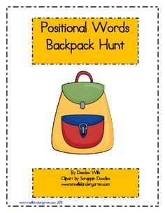 Positional Words Backpack Hunt Freebie