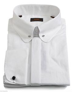 Steven Land Dress Shirt White Club Collar - w/ Collar Bar French Cuff - DS1101