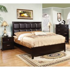 Furniture of America Modern 2-Piece Espresso Bed with Nightstand Set - Overstock™ Shopping - Big Discounts on Furniture of America Bedroom Sets