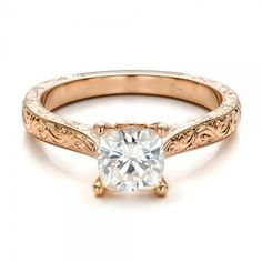 Engagement Rings / Custom Rose Gold Solitaire Engagement Ring - Custom Design Jewelers of Seattle and Bellevue - Joseph Jewelry