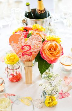 Bespoke colourful wedding | Styling by Rachael Taylor | Hearts & table numbers designed by Rachael Taylor | Location Sandburn Hall | Photography by navyblur | Flowers by Ello Flower