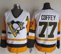 Pittsburgh Penguins #77 Paul Coffey White Black CCM Throwback NHL Jersey
