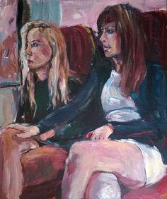 Original Painting Artist Samuel Burton Women Friends on the London Underground