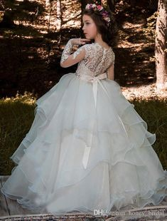 2018 Vintage Flower Girl Dresses Jewel Long Sleeve Floor Length Tiered Girls Pageant Dresses With Lace Applique Crystal Sash For Wedding Toddler Flower Girl Dresses, Princess Flower Girl Dresses, Princess Dress Kids, White Flower Girl Dresses, Princess Ball Gowns, Kids Party Wear Dresses, Girls Pageant Dresses, Vintage Flower Girls, Holy Communion Dresses