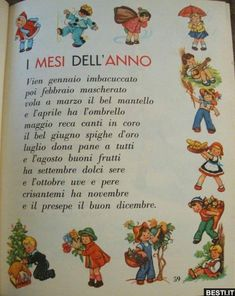 I me since dell' anno Italian Phrases, Italian Words, Italian Christmas Traditions, Number Song, Vintage School, Italian Language, Learning Italian, Reading Material, Months In A Year