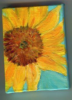 Sunflower Original on aqua mini painting on by SharonFosterArt, $22.00
