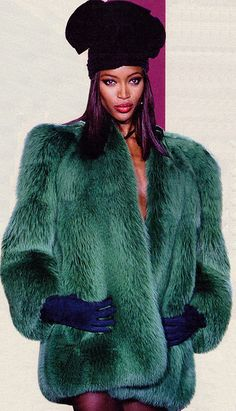 Naomi Campbell YSL Dyed Fox Coat by Fur Fashion Scans, via Flickr