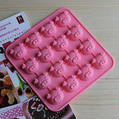 16 buracos moldes forma porco bolo de gelo geléia de chocolate, silicone 17 × 17 × 1,8 centímetros (6,7 × 6,7 × 0,8 polegadas) de 2016 por €25.49