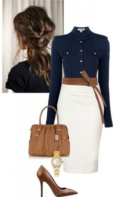 A classy business outfit can be put together by simple pieces like a white pencil skirt and dark blue military style shirt when combined with polished accessories like leather high heels, a belt and a bag at the same color.