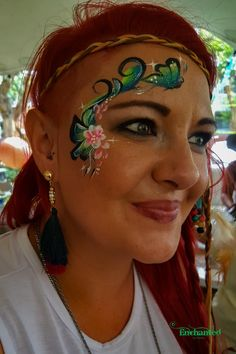 Pretty face paint design painted at a Bohemian theme yearend function in Pretoria East. I especially love the little butterfly escaping from the the rets of the design. Bohemian Theme, Boho, Face Painting Designs, Pretoria, Hula Hoop, Pretty Face, Butterfly, Hair Styles, Beauty