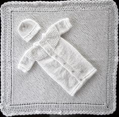 Sea Trail Grandmas: Christening set ~ this is the KNITTED blanket to match ~ also crocheted blanket elsewhere on this board ~ you have to see the sack up close - so pretty~ Knitted Doll Patterns, Baby Hat Knitting Pattern, Baby Patterns, Knitting Patterns Free, Free Pattern, Crochet Patterns, Free Knitting, Sewing Patterns, Preemie Crochet