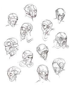 Robot Concept Art, Armor Concept, Character Concept, Character Art, Art Sketches, Art Drawings, Arte Cyberpunk, Mask Drawing, Arte Robot