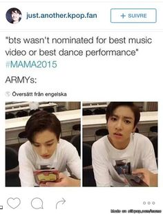 BTS not nominated for Best Music Video or Best Dance MAMA 2015 meme