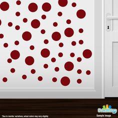 Burgundy Polka Dot Circles Wall Decals #stickers #decalvenue #decals