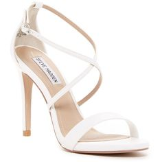 Steve Madden Floriaa Heel Sandal ($50) ❤ liked on Polyvore featuring shoes, sandals, white, steve madden sandals, steve madden, strap heel sandals, open toe shoes and strappy sandals