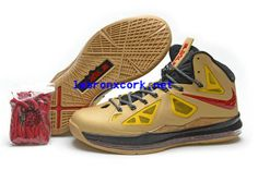 75d180bb981a Nike Air Max LeBron James X 10 Limited Gold Red Basketball shoes
