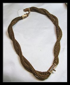 Victorian mourning watch chain, made of woven hair.