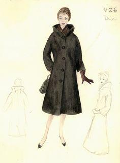 New Fashion Illustration Dior Bergdorf Goodman Ideas Fashion Images, Fashion Pictures, New Fashion, Retro Fashion, Trendy Fashion, Dior Fashion, Fashion Coat, Vintage Fashion Sketches, Fashion Illustration Vintage