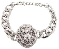 Silver Lion Head 9 Inch Link Chain 10mm Adjustable Bracelet JOTW. $1.95. 100% Satisfaction Guaranteed!. The link chain measures 9 inches.. Great Quality Jewelry!. The lion head charm measures 1.15 inches from left to right and 1.25 inches from top to bottom.
