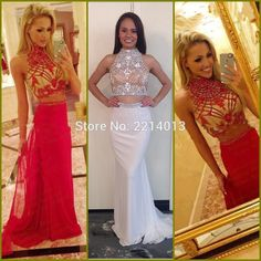 >> Click to Buy << Free Shipping 2016 High Neck Crystal Pearl Beaded Red Chiffon Ruched Custom made Formal Long Evening Dresses E0152 #Affiliate
