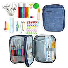V-BEST 37 Pack agujas de ganchillo Agujas de Punto Coloridas con Mango de Goma Kit de Ganchillos Accesorios 2mm-6mm Ganchillos Crochet