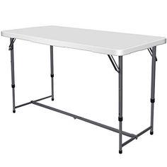 Nestling Table pliante de jardin blanche idéale comme table de camping de buffet de cuisine table extérieure pliante avec poignée Tavolo da 12 m Blanc