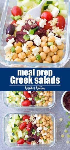 This Meal Prep Greek Couscous Salad is a healthy vegetarian make ahead lunch. These lunch bowls are filled with healthy vegetables and chickpeas add protein! You can also serve this as a side salad at a BBQ. Vegetarian Meal Prep, Healthy Meal Prep, Healthy Snacks, Vegetarian Recipes, Healthy Recipes, Meal Prep Salads, Easy Lunch Meal Prep, Salads For Lunch, Vegetarian Salad