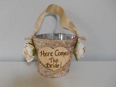 Birch Bark Flower Girl Basket Bucket Rustic by astylishdesign, $22.50