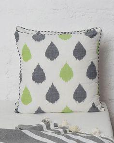 Ikat Tear Drop Cushion - Lime & Charcoal