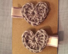 crochet heart hair clips, pair - grey yarn with cream & grey ribbon $6 www.etsy/shop/sproutofwhimsy
