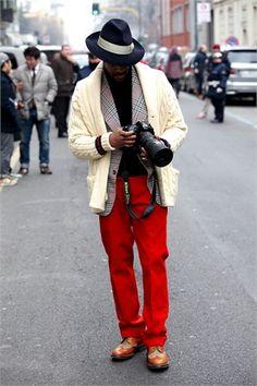 Milan Menswear Fashion Week- love his pants. Well really his whole look.