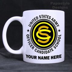 US Army Officer Candidate School Personalized Coffee Mugs. Made in the USA. #Handmade