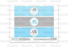 Printable DIY Personalized Blue and Grey by PapercutsPartyShop, $5.00