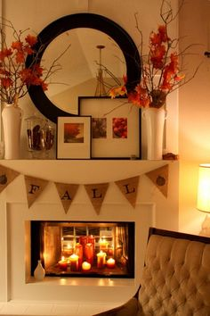 FALL MANTLE: Contemporary but still warm... a good base for more mantle ideas. *** I am using a mirror & candles to decorate my winter fireplace - absolutely beautiful!