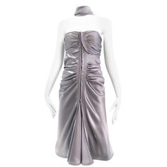 Yves Saint Laurent by Tom Ford Grey silk Charmeuse Cocktail Dress   From a collection of rare vintage summer-dresses at https://www.1stdibs.com/fashion/clothing/evening-dresses/summer-dresses/