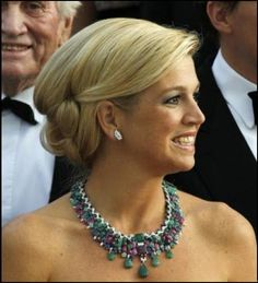 Queen Maxima in a stunning multi-gem necklace