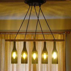 how to make wine bottle chandelier | Wine Bottle Chandelier Light light, chandelier, wine bottle