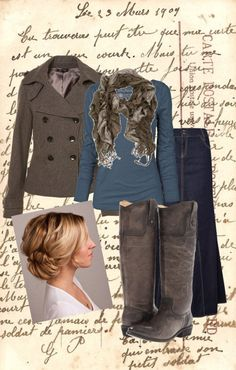 """""""Staying Warm"""" by daisyhedo ❤ liked on Polyvore  Love the blue and brown...minus the boots. I don't do boots."""
