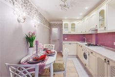 Use pink color in kitchen interior