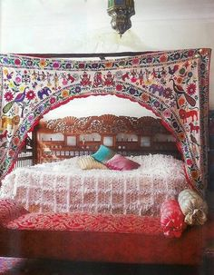 I LOVE the curtain and the divan in this picture. The bed has a beautiful headboard, but I can't say that I like the bedding on it, it looks itchy. #rooms #bedroom #decor #bohemian