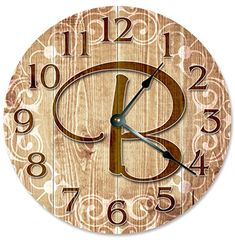 LETTER B MONOGRAM CLOCK Decorative Round Wall Clock Home Decor Large 105 FAMILY LAST NAME INITIAL Printed Wood Image *** Learn more by visiting the image link. (This is an affiliate link) #Clocks