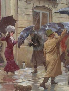 Vera, Medina Inocencio (b,1876)- Raining- Umbrellas, 1910
