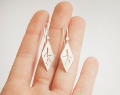 Short silver diamond earrings lightweight and very by umya on Etsy