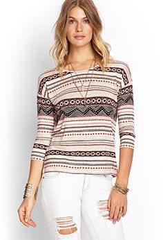 Mixed Tribal Print Top | FOREVER 21 - 2000105031