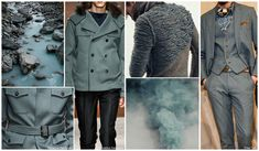 Top Color, Menswear Market, F/W 2015-16, SMOKE GREEN (Frosted Neutrals)  One of the newer emerging colors for Fall/Winter is a smokey shade of green-grey, perfect for woolen bombers, military jackets, and textural tailoring like corduroy or velvet.
