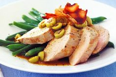 Roast pork fillet with pancetta & green olive sauce main image