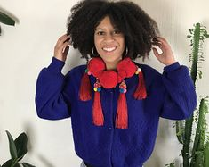 Samaya Ling Vintage by SamayaLingVintage on Etsy Tassels, Im Not Perfect, Thailand, Crochet Necklace, Wool, Trending Outfits, Red, Handmade, Etsy